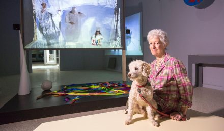 Joan Jonas and her dog, Ozu, at the Venice Biennale 2015. Photo by Moira Ricci