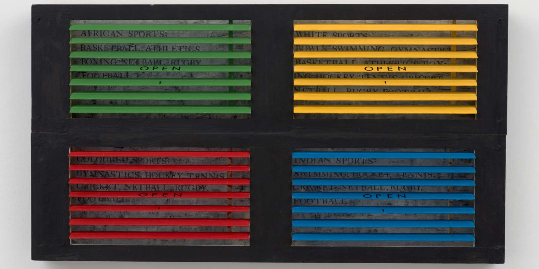 Renée Green, Colour Games, 1989, Wood, acrylic, and ink on Masonite, 35 x 19 in / 88.9 x 48.3 cm