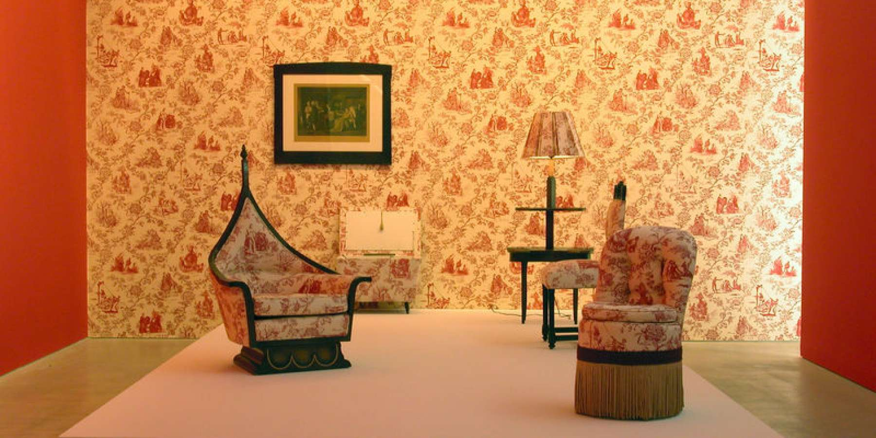 Renée Green, Artist Mise-en-Scène: Commemorative Toile , 1992–94 Medium Photograph, upholstered chair, wall treatment, wallpaper Dimensions Dimensions variable Credit Line Photograph, courtesy of the artist and Free Agent Media; chair, collection of Eileen Harris Norton; wallpaper, courtesy of the artist, Free Agent Media, and the Fabric Workshop. Installation view, Galerie im Taxisplais, Innsbruck, Austria, 2004, courtesy of the artist and Free Agent Media (photo: Rainer Iglar)