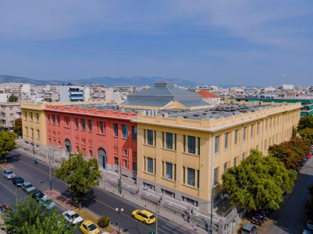 The Lenorman Street Tobacco Factory, Athens. Half of the building is home to the library of Hellenic Parliament. The other half is being renovated by the art foundation Neon and will house a cultural center. Photo © Giorgos Charisis; courtesy of the Hellenic Parliament and Neon.
