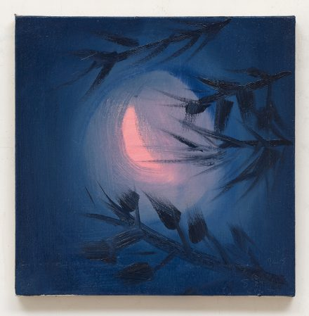 Ann Craven, Moon (Pink Crescent, Cushing, 8-25-19, 1:30 AM) (2019). Oil on linen. 14 x 14 inches. Image courtesy of Adams and Ollman.