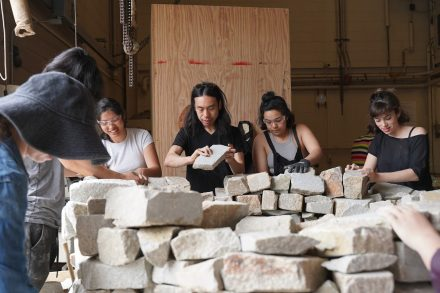Students building a mintar. Nida Sinnokrot, Course 4.314:5 | Advanced Workshop in Artistic Practice and Transdisciplinary Research, Spring 2019. Photo- Gary Zhexi Zhang