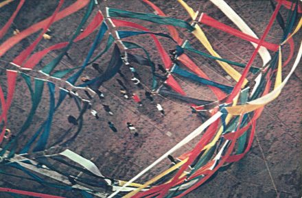Photograph of CAVS Fellow Lowry Burgess' aerial sculpture