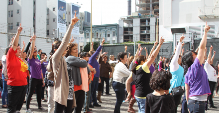 Members of the California Coalition of Domestic Workers and Studio REV- celebrate the first year anniversary of the state's Domestic Worker Bill of Rights. Photo by Rebeka Rodriguez, 2016.