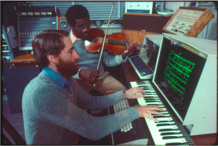 """Violist Marcus Thompson and software developer Barry Vercoe, both MIT professors, collaborate on """"Synapse for Viola and Computer,"""" included in the Computer Generations (Composers Recordings Inc., 1978) album, 1976."""