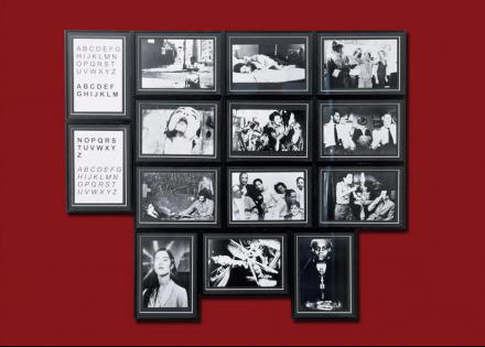 Renée Green, Between and Including, Set A (Akerman to Bogeyman), 1998. Black-and-white framed photographs, framed texts and painted wall. 14 panels, dimensions variable; 10 panels, 6 1/2 x 8 7/8 in. each; 4 panels, 8 7/8 x 6 1/2 in. (22.5 x 16.5 cm) each. Rubell Family Collection, Miami