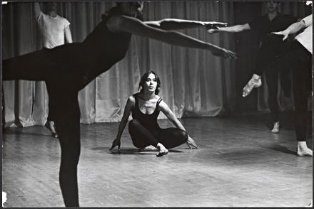 """Yvonne Rainer in """"Bach,"""" from """"Terrain,"""" performed in 1963 at Judson Memorial Church. Credit: Hottelet/Giese/Licensed by Artists Rights Society (ARS), NY; via Getty Research Institute"""