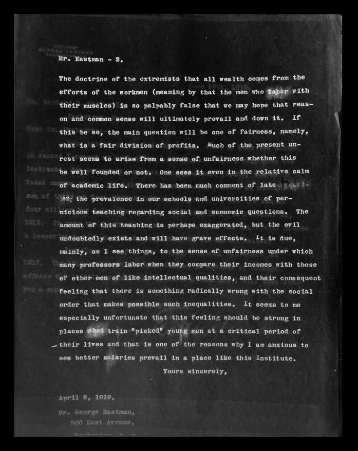 Ryan Aasen, Letter from MIT President Richard Maclaurin to George Eastman, 1919. Laser print, 11″ x 8.5″.