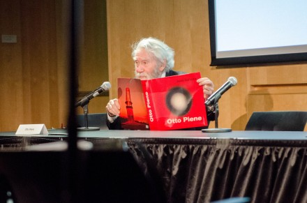 Former CAVS director, Otto Piene speaks at the Public Space? Lost & Found Symposium in 2014. Photo by Elisa Young