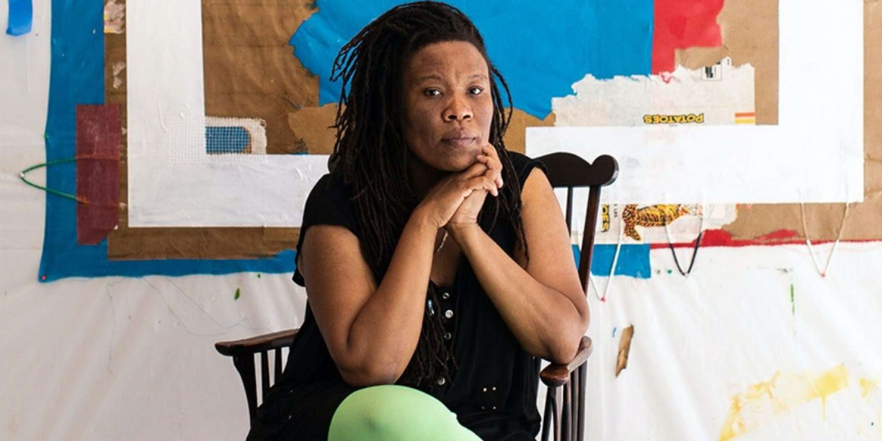 Tomashi Jackson in her studio at The Watermill Center, June 2021. Photo: Copyright Jessica Dalene, courtesy of The Watermill Center